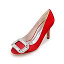 cheap Women's Heels-Women's Satin Spring / Summer Basic Pump Wedding Shoes Stiletto Heel Square Toe Rhinestone Blue / Champagne / Ivory / Party & Evening