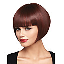 cheap Human Hair Capless Wigs-Synthetic Wig Straight / Yaki Bob Haircut / With Bangs Synthetic Hair Red Wig Women's Capless