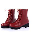 preiswerte Damen Stiefel-Damen Schuhe Leder Herbst / Winter Komfort / Modische Stiefel / Stiefeletten Stiefel Flacher Absatz Schnürsenkel Weiß / Schwarz / Rot