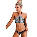 baratos Roupas de Mergulho & Camisas de Proteção-Mulheres Nadador Underwire Biquíni - Geométrica, Estampado Cavado