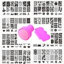 baratos Carimbos para Unhas-10 pcs Placa de Estampagem Modelo Design Moderno arte de unha Manicure e pedicure Estiloso / Roupa / Flor / Placa de Carimbar