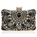 cheap Clutches & Evening Bags-Women's Bags Cowhide Evening Bag / Bi-fold Pearl / Crystal / Rhinestone / Acrylic Jewels Black