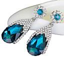 baratos Brincos-Mulheres Sapphire sintético Brincos Compridos - Cristal, Imitações de Diamante Caído Luxo Azul Real Para Casamento Festa Diário