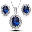 رخيصةأون أطقم المجوهرات-للمرأة مجموعة مجوهرات - تصفيح بطلاء الفضة تتضمن أزرق / أبيض من أجل زفاف حزب