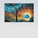 tanie Pejzaże-Ręcznie malowane Streszczenie Poziomy Brezentowy Hang-Malowane obraz olejny Dekoracja domowa Trzy panele