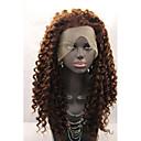 halpa Synteettiset peruukit ilmanmyssyä-Synteettiset pitsireunan peruukit Vesiaalto Synteettiset hiukset Luonnollinen hiusviiva Ruskea Peruukki Naisten Lace Front
