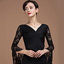 cheap Ballroom Dance Wear-Ballroom Dance Tops Women's Performance Rayon Lace / Criss-Cross 3/4 Length Sleeve Natural Top