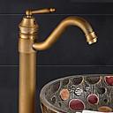 baratos Torneiras de Banheiro-Moderna Pia Rotativo Válvula Cerâmica Uma Abertura Monocomando e Uma Abertura Bronze Envelhecido, Torneira pia do banheiro