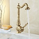 cheap Bathroom Sink Faucets-Traditional Standard Spout Centerset Widespread Ceramic Valve Single Handle One Hole Antique Brass, Kitchen faucet