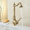 cheap Kitchen Faucets-Traditional Standard Spout Centerset Widespread Ceramic Valve Single Handle One Hole Antique Brass, Kitchen faucet