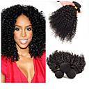 cheap One Pack Hair-3 Bundles 300g Human Hair Weaves Peruvian Hair Kinky Curly Virgin Human Hair Natural Black Human Hair Weaves 8-30 inch Hot Sale Human Hair Extensions for Women 3 bundles for a full head