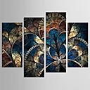 זול הדפסים-מופשט פרחוני/בוטני קלסי סגנון ארופאי, ארבעה פנלים בַּד בכל צורה דפוס דקור קיר קישוט הבית