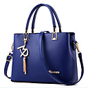 cheap Totes-Women's Bags PU Tote / Zipper Beading / Metallic Blue / Pink / Wine