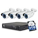 olcso NVR csomagok-jooan® 4ch 1080p nvr 2 tb hdd 4db 2mpes vízálló poe ip kamerával 100ft éjjellátó 48v tápellátás etherneten keresztül