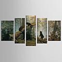 tanie Walcowane wydruki na płótnie-Nadruk Zwierzęta / Kwiatowy / Roślinny Klasyczny / Fason europejski Pięć paneli