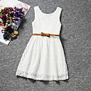 tanie Sukienki dla dziewczynek-Dzieci Dla dziewczynek Koronka Solidne kolory Bez rękawów Regularny Regularny Sukienka Biały 110