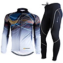 cheap Abstract Paintings-Nuckily Men's Long Sleeve Cycling Jersey with Tights Bike Clothing Suit, Breathable, 3D Pad, Thermal / Warm, Ultraviolet Resistant, Winter, Polyester, Fleece Gradient / Stretchy / Advanced