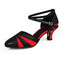 זול נעליים לטיניות-בגדי ריקוד נשים נעליים לטיניות / נעלי סלסה עור פטנט / דמוי עור סנדלים / עקבים אבזם עקב קובני מותאם אישית נעלי ריקוד שחור אדום / בבית