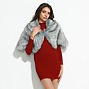 preiswerte Parykopfbedeckungen-Damen Ausgehen Modisch Frühling & Herbst / Winter Mantel / Capes, Solide Kunst-Pelz Silber Einheitsgröße
