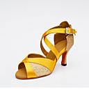 cheap Latin Shoes-Women's Latin Shoes Net / Silk / Glitter Heel Buckle / Splicing Customizable Dance Shoes Black / Silver / Yellow / Indoor