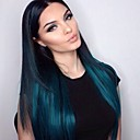 cheap Human Hair Wigs-Human Hair Glueless Lace Front Lace Front Wig Straight Wig 130% Hair Density Ombre Hair Natural Hairline African American Wig Women's Short Medium Length Long Human Hair Lace Wig / 100% Hand Tied