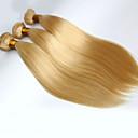 halpa Luonnollisen väriset hiuspidennykset-3 pakettia Brasilialainen Suora Virgin-hius Hiukset kutoo Hiukset kutoo Hiukset Extensions