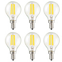 cheap LED Candle Lights-KWB 6pcs 3W 400lm E14 E26 / E27 E12 LED Filament Bulbs G45 4 LED Beads COB Dimmable Decorative Warm White 110-130V 220-240V