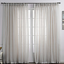 cheap Sheer Curtains-Sheer Curtains Shades Bedroom Solid Colored Linen / Polyester Blend