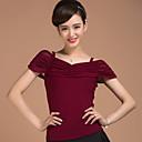 cheap Ballroom Dance Wear-Ballroom Dance Tops Women's Training Elastic Woven Satin Ruffles Short Sleeve Natural Top