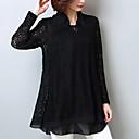 billige Pressede puddere-Skjortekrage Store størrelser Bluse Dame - Ensfarget Gatemote / Chinoiserie Ut på byen / Arbeid / Sommer / Blonder