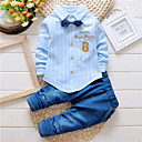 preiswerte Hosen für Jungen-Baby Jungen Streifen Stickerei Langarm Baumwolle Jeans / Kleidungs Set