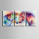 cheap People Paintings-Abstract Animals Modern, Three Panels Canvas Vertical Print Wall Decor Home Decoration