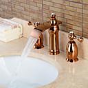 tanie Baterie łazienkowe-Bateria do umywalki łazienkowej - Wodospad Różowe złoto Szeroko rozstawiona Trzy uchwyty Trzy otwory / Mosiądz