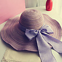 cheap Tape in Hair Extensions-Women's Holiday Outdoor Straw Hat Sun Hat - Solid Colored Bow