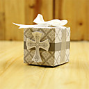 cheap Party Supplies-Cubic Card Paper Favor Holder with Ribbons Favor Boxes-50