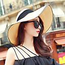 baratos Acessórios de Cabelo-Mulheres Moda de Rua Floppy De Palha Chapéu de sol Sólido