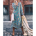 tanie Buty do latino-Damskie Święto Boho Swing Sukienka - Kwiaty, Nadruk Głęboki dekolt w serek Asymetryczna Niebieski / Luźna