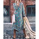 cheap Women's Sandals-Women's Boho Plus Size Holiday Boho Swing Dress - Floral Blue, Print Deep V Spring Light Blue XXXL XXXXL XXXXXL / Loose