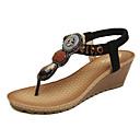 זול סנדלי נשים-בגדי ריקוד נשים נעליים PU אביב / קיץ נוחות / חדשני סנדלים הליכה עקב טריז סרט גומי שחור / שקד / נעלי עקב