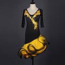 levne Boty na moderní tance-Latinské tance Šaty Dámské Výkon Spandex / Organza Křišťály / Bižuterie Poloviční rukáv Šaty