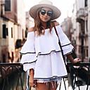 preiswerte Damen Heels-Damen Solide - Street Schick Ausgehen Baumwolle T-shirt, Bateau Lose Rückenfrei Rüsche Blütenblatt Ärmel
