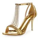 baratos Sandálias Femininas-Mulheres Sapatos Micofibra Sintética PU / Gliter Verão / Outono Conforto / Inovador Sandálias Salto Agulha Pedrarias Branco / Vermelho /