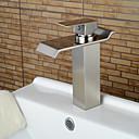 halpa Anime-asut-Nykyaikainen Integroitu Vesiputous Keraaminen venttiili Yksi kahva yksi reikä Harjattu nikkeli , Kylpyhuone Sink hana