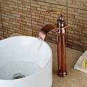 halpa Kylpyhuoneen lavuaarihanat-Kylpyhuone Sink hana - Vesiputous Ruusukulta Integroitu Yksi kahva yksi reikäBath Taps / Messinki