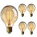 abordables Bombillas LED-5pcs 40W E26 / E27 G95 Blanco Cálido 2200-2800k Retro Regulable Decorativa Bombilla incandescente Vintage Edison 220-240V