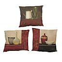 abordables Bombillas LED-4.0 PC Lino Natural/Orgánico Funda de almohada Cobertor de Cojín, Un Color Con Texturas Estilo playero Tradicional/Clásico Oficina/