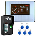 billige Video Dørtelefonsystemer-7 lcd optagelse hd 1000tvl dvr fingeraftryk genkendelse video dørtelefon intercom-system kit