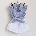 رخيصةأون أطقم ملابس البنات-مجموعة ملابس قطن قصيرة بدون كم مخطط كشكش / خطوط فتيات طفل صغير