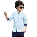 cheap Wall Stickers-Boys' Daily Solid Colored Shirt, Cotton Rayon Spring Summer Long Sleeves White Blushing Pink Light Blue