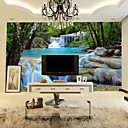 cheap Wall Murals-Art Deco Wallpaper For Home Wall Covering Canvas Adhesive Required Mural Colored Blue Landscape Waterfall Forest XXXL(448*280cm)